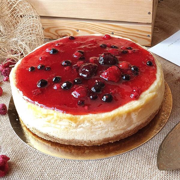 New York Cheesecake con mermelada de fresas. Mamá Naranja